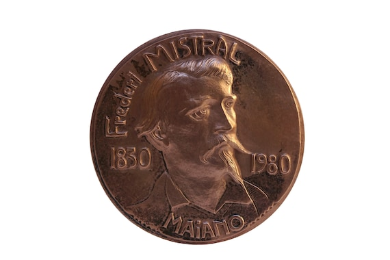 Frederic Mistral Portrait Bronze Medal, French Provencal Book Lover Gift