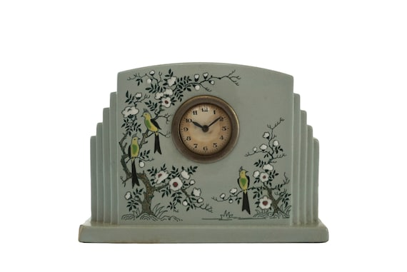 Art Deco Ceramic Mantel Clock with Parrots by Longwy, French Pottery with Hand Painted Bird Figurines