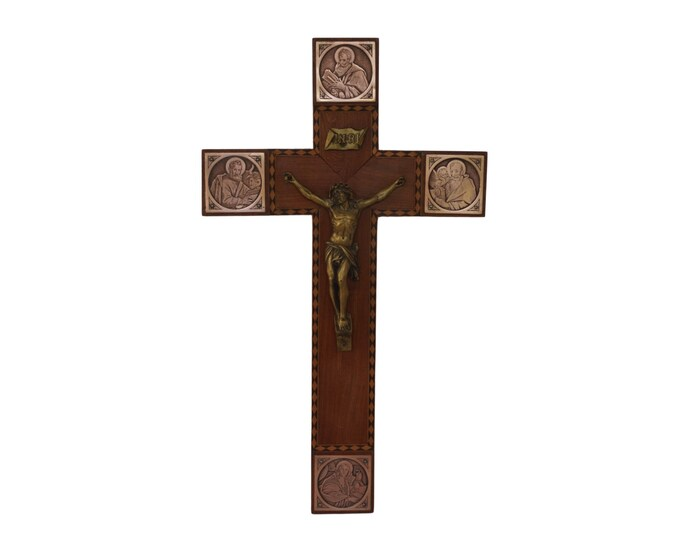 Four Evangelists Wood Crucifix, Art Deco Tetramorph Wall Hanging Cross