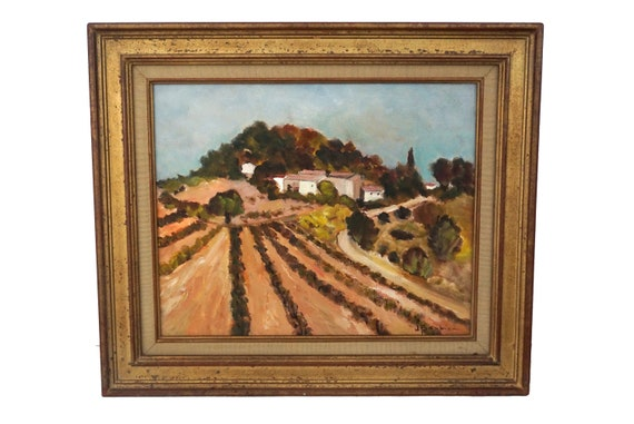 French Vineyard and Farmhouse Painting, Framed Provence Country Landscape Wall Art
