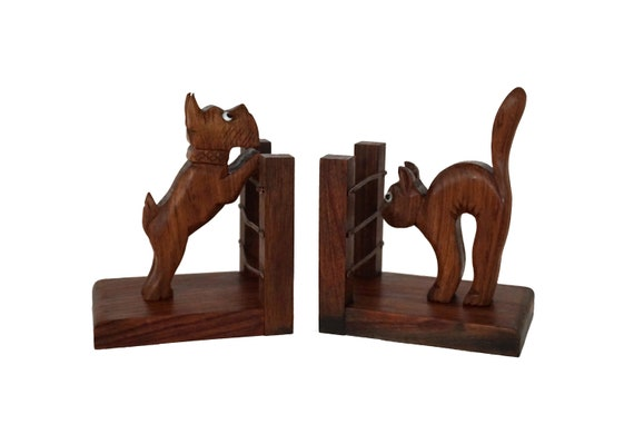 Art Deco Cat and Dog Figurine Bookends, French Antique Carved Wood Animals