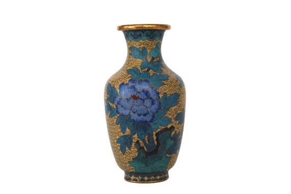 Chinese Cloisonne Urn Vase with Chrysanthemum and Lotus Flowers, Enamel and Brass Asian Home Decor