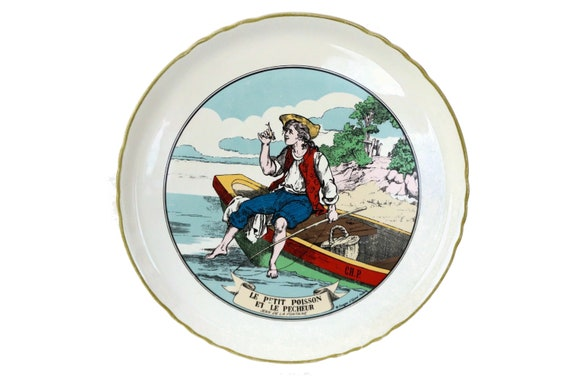 La Fontaine Fables Wall Plate, The Little Fish and the Fisherman by Epinal Pellerin, Vintage French Faience