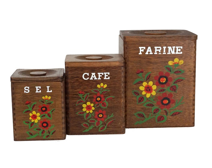 Folk Art Wooden Kitchen Canister Set, French Coffee, Salt and Flour Storage Boxes