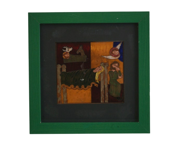 Medieval Nativity Scene Wall Hanging, Engraved Copper Plaque with Hand Painted Enamel