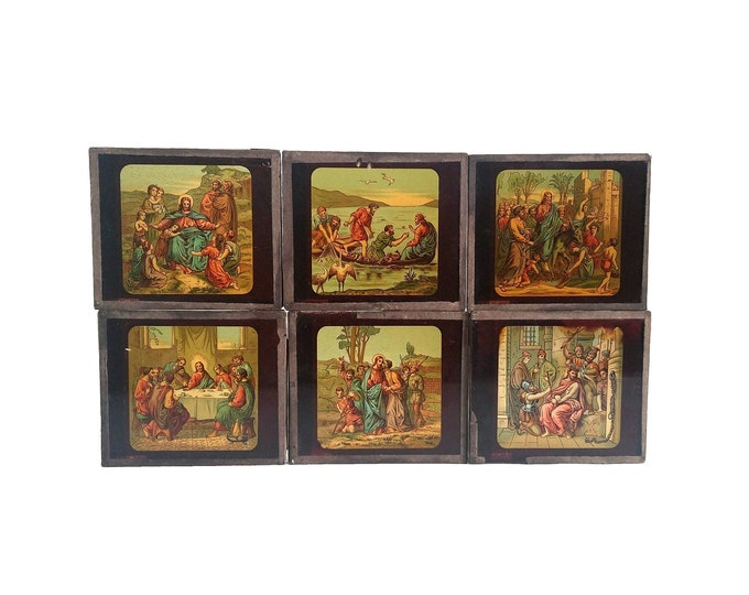 Antique Magic Lantern Slides, Collection of the Passion of Christ, Set of 6, French Christian Collectibles