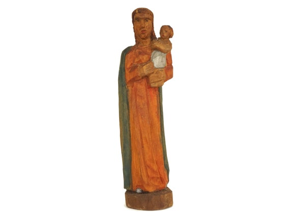 Carved Wood Madonna and Child Figurine