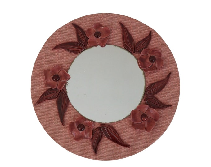 Mid Century Wall Mirror with Pink Ceramic Flowers, Vintage French Boho Home Decor