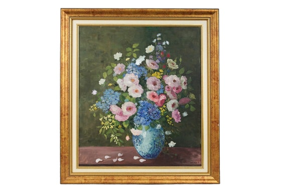 Roses in Vase Still Life Painting, Vintage Framed French Floral Arrangement Art