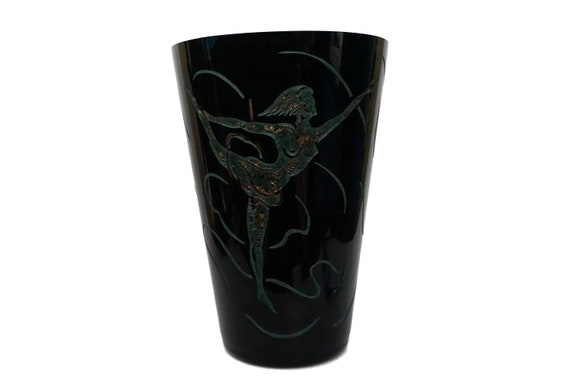 Art Deco Lady Dancer Crystal Vase by Adat, French Etched Glass with Gymnast Figure