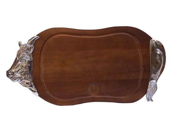 Vintage Wooden Meat Cutting Board, French BBQ Chopping Platter