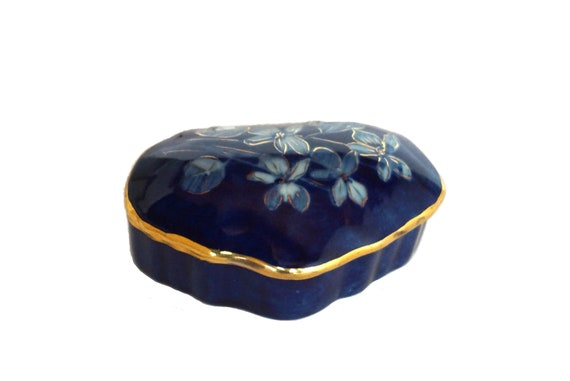 Limoges Porcelain Jewelry Box by Marcel Chaufriasse, Hand Painted French Blue Trinket Dish