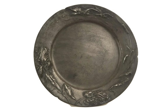Art Nouveau Pewter Charger Plate, Antique German Jugendstil Dautzenberg Dish with Iris Flowers and Flying Ducks