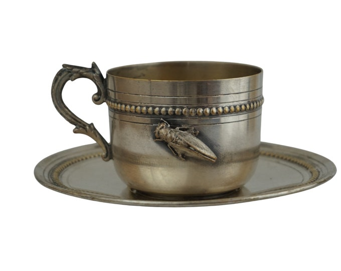 French Antique Silver Plated Coffee Cup and Saucer Set with Cicada Figurine