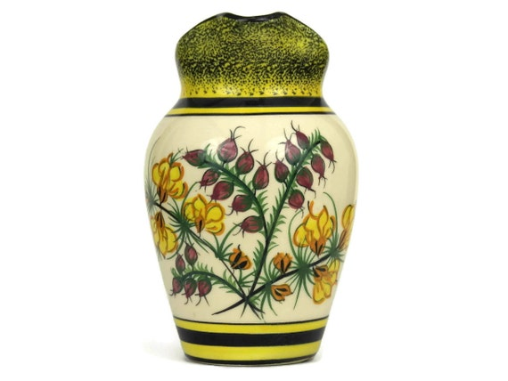 Vintage Henriot Quimper Ceramic Creamer. Hand Painted French Faience Pitcher.