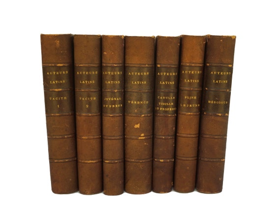 Antique French Book Collection, Set of Leather Bound Latin Books, Library Decor