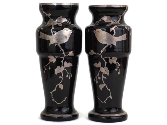 Amethyst Glass Vases with Silver Overlay Hand Painted Birds