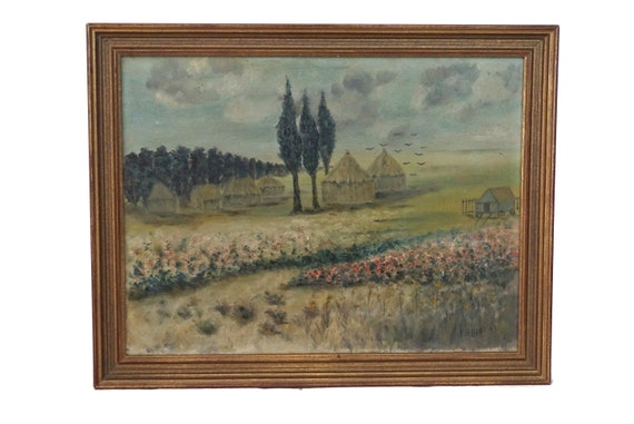 French Country Landscape Painting with Haystacks,  Framed Original Signed Art