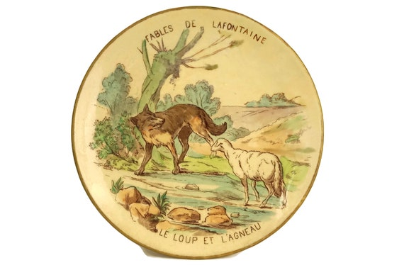 Fables of La Fontaine Antique Wall Plate, The Wolf and the Lamb
