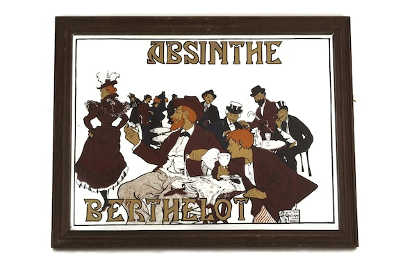 Vintage Absinthe Berthelot Advertising Bar Mirror