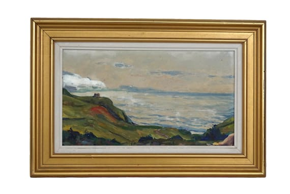 Vintage French Atlantic Coastal Painting, Framed Seascape Art