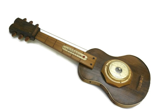 Vintage Guitar Barometer and Thermometer Weather Station.  Retro Home Music Decor. Musician Gifts.