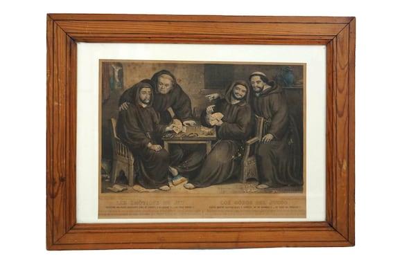Antique Gambling Monk Art Print, French 19th Century Humorous Friar Lithograph by Napoleon Thomas