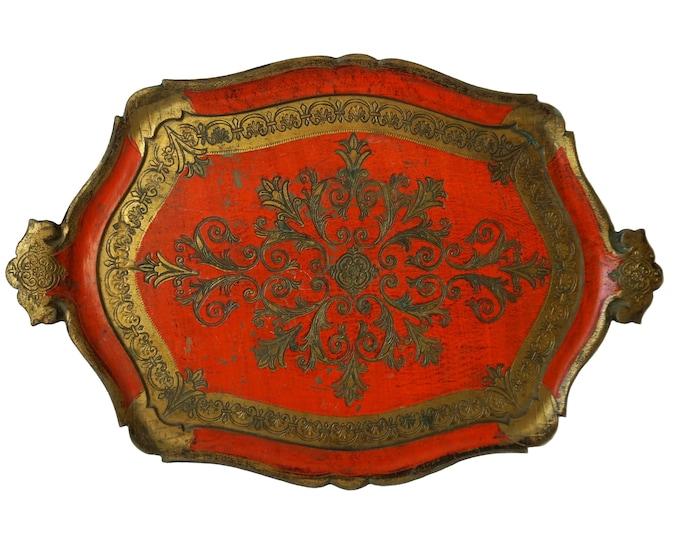 Vintage Florentine Drinks Serving Tray, Hand Painted Gilt Resin Platter