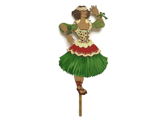 Vintage Wooden Ballerina Puppet, Jumping Jack String Marionette Puppet, Girl's Bedroom Decor