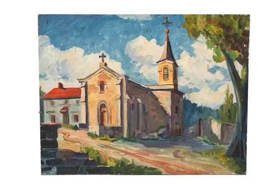 French Country Church and Village Painting, Landscape and Street Scene Original Art