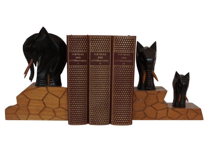 French Carved Wood Elephant Figurine Bookends, Safari Animal Statues