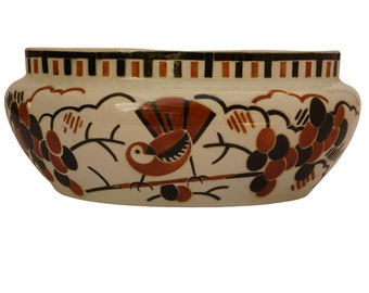 French Art Deco Ceramic Planter by Luneville with Birds and Grapes, Antique Faience Jardiniere