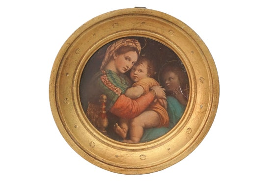 Raphael Madonna of the Chair, Virgin Mary and Child Christ Portrait, Religious Florentine Framed Art