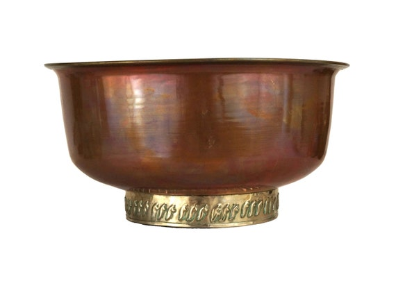 Arts and Crafts Copper and Brass Bowl, Antique French Copperware Fruit Dish