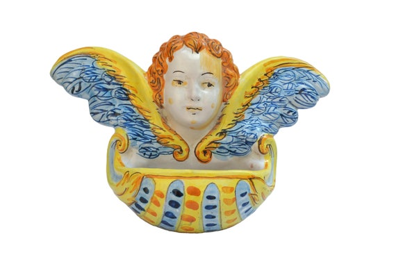 Ceramic Angel Holy Water Font, Vintage Christian Wall Hanging Decor and Gifts