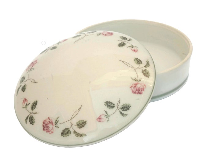 French Porcelain Jewelry Box with Roses, Trinket Dish and Vanity Decor