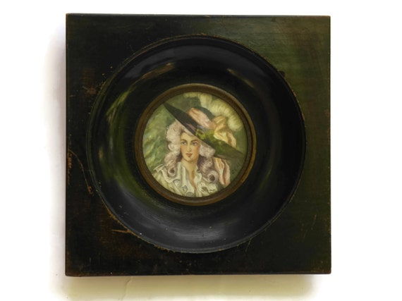 French Antique Miniature Marie Antoinette's Portrait. 19th Century Romantic Signed Painting.