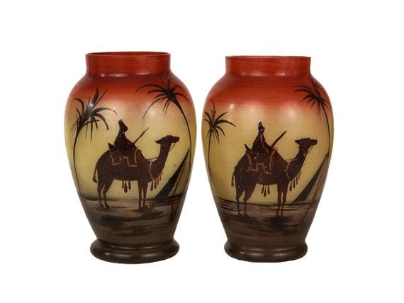 Art Deco Glass Vases Pair, Vintage French Small Flower Holder, Hand Painted Egyptian Decor with Pyramids, Date Palm Trees and Camels