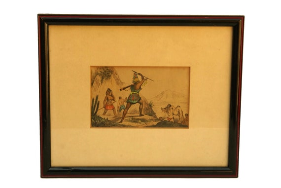 Antique Framed Aztec Art Print, Hand Colored Engraving, Tribal Wall Decor, Human Sacrifice
