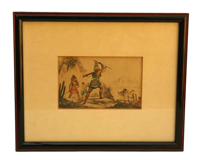 Antique Framed Aztec Art Print, Hand Colored Engraving, Tribal Wall Decor, Human Sacrifice