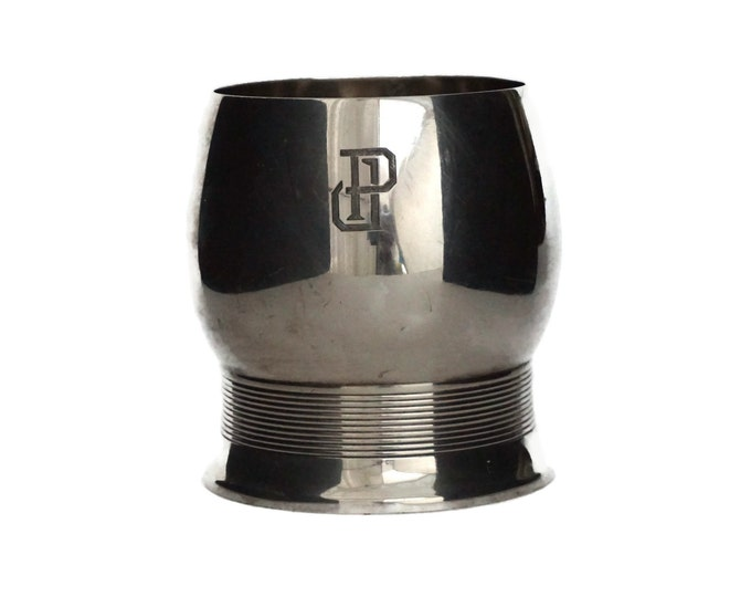 Antique Sterling Silver Goblet Cup with Engraved Monogram Initial PJ