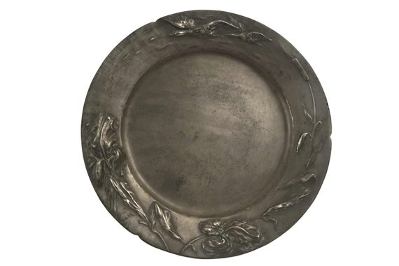 Art Nouveau Pewter Charger Plate, Antique German Jugendstil Dautzenberg Dish