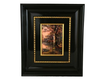 Hand Painted French Limoges Enamel Wall Art with River, Trees and Country Landscape by Jean Betourne