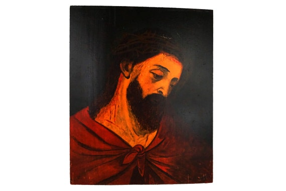 Antique Jesus Christ Portrait Painting, Signed Original Christian Art
