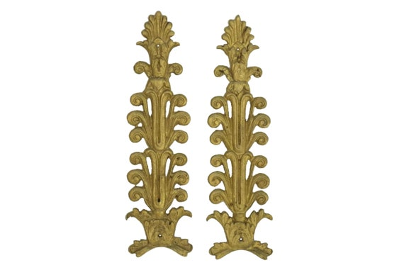 French Bronze Furniture Ornaments Set of 2, Antique Hardware Moldings, Chateau Home Decor