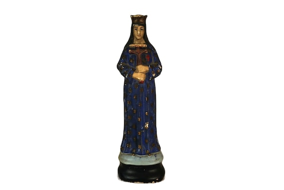 Pontmain Virgin Mary Polychrome statue, Notre Dame de Pontmain Figurine, Antique French Chalkware Madonna