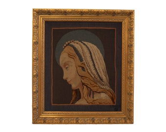 French Aubusson Tapestry with Virgin Mary of St Galmier Portrait, Vintage French Needlework Art
