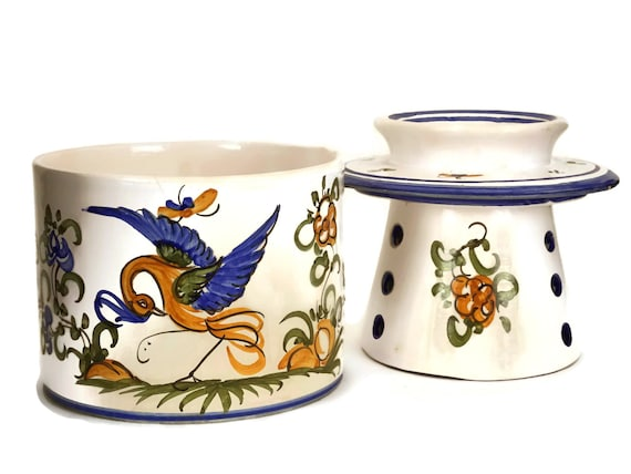 French Moustier Faience Butter Bell Crock
