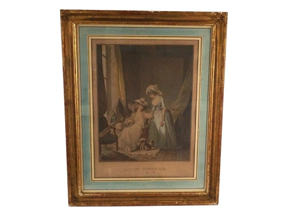 Antique French Romantic Aquatint Engraving, The Difficult Confession Art Print by Francois Janinet, after Nicolas Lavreince