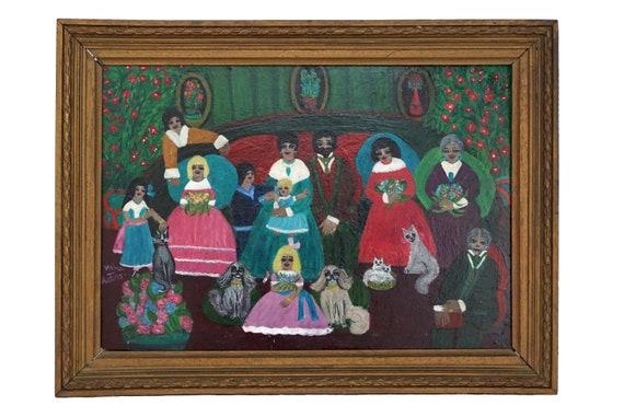 Family and Pet Portrait Painting Signed Nina Katorza, French Vintage Naive Art